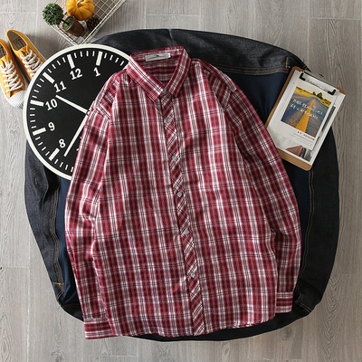Men\'s Simple Plaid Long-Sleeved Shirt Collared Checkered Casual Clothes