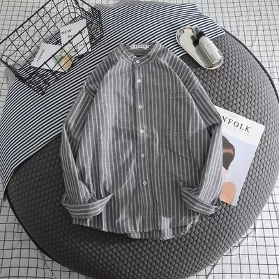 Men's Long Sleeved Shirt Loose Casual Striped Trend Clothes