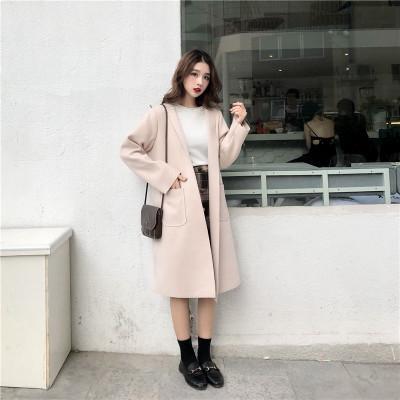 Women Popular Coat Winter Clothing Woolen Coat Long Section Without Buckle
