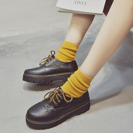 Women Small Shoes Cross Straps Round Head Single Shoes Thick Bottom Shoes