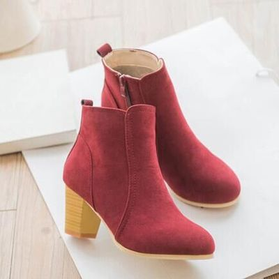 BEIGE Boots Mid Heel Pointed Head Woman Shoes - APRIKOT Korean Kasut Bot Wanita