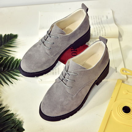 Women Leather Shoes Thick Casual Retro Students Shoes Round Head Plus Size
