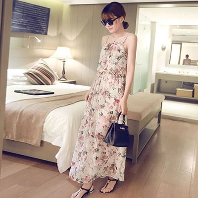 Women Spring Holiday Chiffon Beach Skirt Bohemian Long Skirt Floral Strap Dress