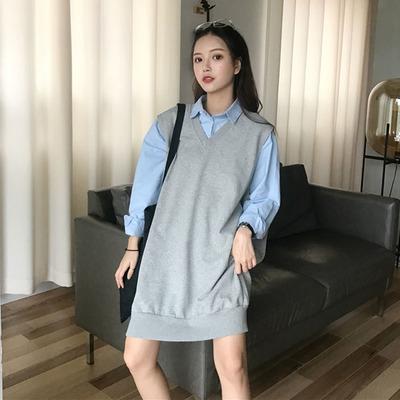 Women Loose Wild Color V-Neck Sleeveless Pullover Sweater Vest Dress Skirt
