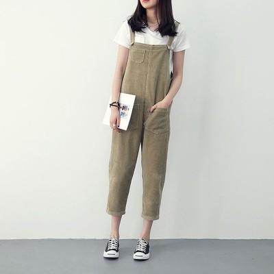 Women Loose Straight Bib Pants Corduroy On-Piece Pants Casual Thin Pants