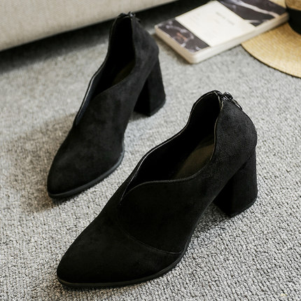 Women Thick Single Shoes Pointed Head Retro Shallow Mouth Matte High Heels Shoes