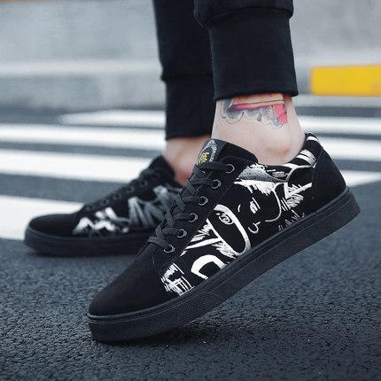 Men\'s Winter Canvas Shoes Black Shoes Students Shoes Flat Heel Lace-Up