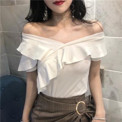 Women Off Shoulder Short Sleeved T-Shirt Slim Fit Summer Clothing