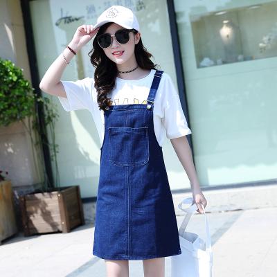 Women Denim Strap Dress Half-Length Sleeveless Dress Student Loose Skirt