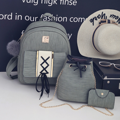 Women Retro Backpack Student Bag Travel Bag Drawstring Three Piece Set