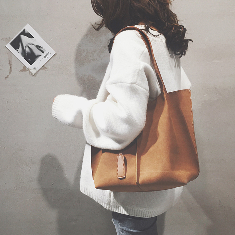 Women Fashion Korean Scrub Big Tote Female Bag