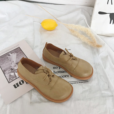 Women Trendy Non Slip Round Head Leather Shoes