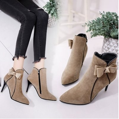 Women Fashionable Sweet Bow High Heeled Pointed Stiletto Martin Boots