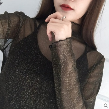 Women Korean Fashion  Fishing Net Long Sleeved Lace Top