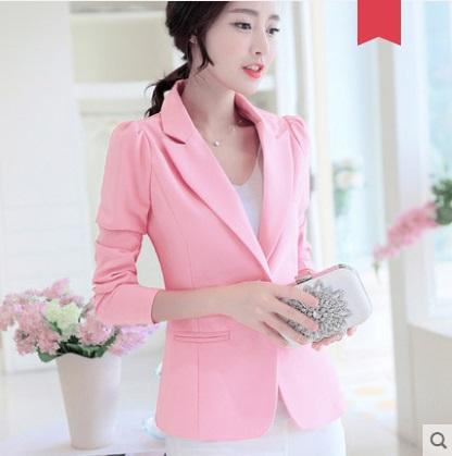 Women Korean Fashion  One Button Suit Collar Casual Jacket
