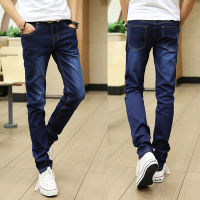 Men\'s Korean Youth Pop Style Middle Waist Straight Slim Denim Pants