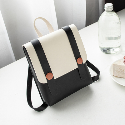 Women Korean Fashion Ladies Magnetic Buckle Retro College Backpack