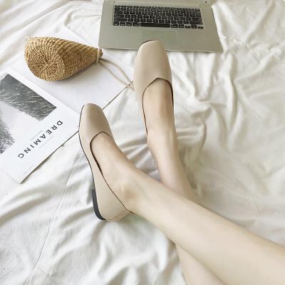 Women Korean Fashion Retro Square Head Flat Bottom Shoes