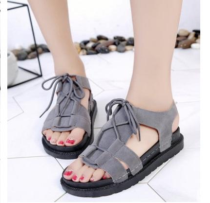 Women Korean Fashion Open Toe Muffin Bottom Roman Shoes