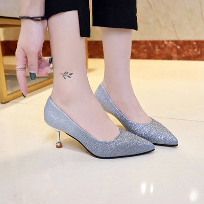 Women Korean Fashion Sexy Pointed Shallow Mouth Sequins Stilleto Heels