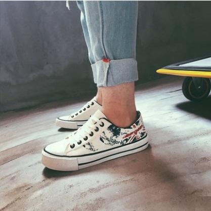Men's Korean Trend Low Casual Graffiti Canvas Shoes