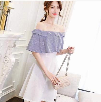 Women Korean Fashion Casual Off Shoulder High Waist Short Skirt Dress