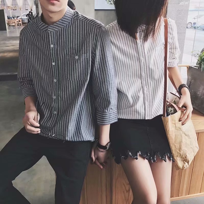 Men\'s Korean Harajuku Style Loose Stripes Pointed Collar Shirt Couples