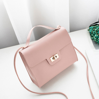 Women Korean Fashion Retro Small Messenger Spin Lock Bag
