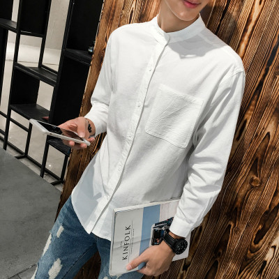 Men's Korean Trend  Round Neck Loose Embroidered Summer Shirt