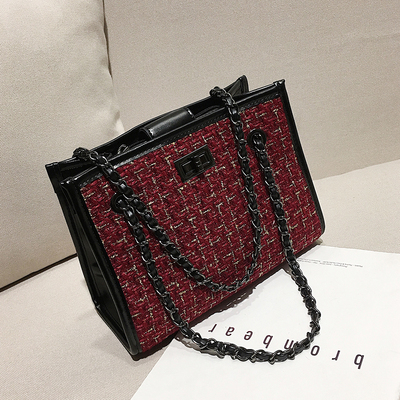 Women Korean Fashion Wild Style Weave Open Pocket Chain Shoulder Bag