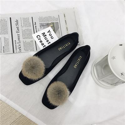 Women Korean Fashion Retro Rabbit Fur Ball Suede Flat Shoes