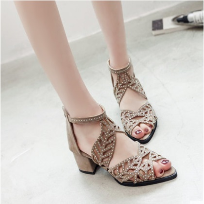 Women Korean Trend Suede Fish Mouth  High Heel Fashion Shoes