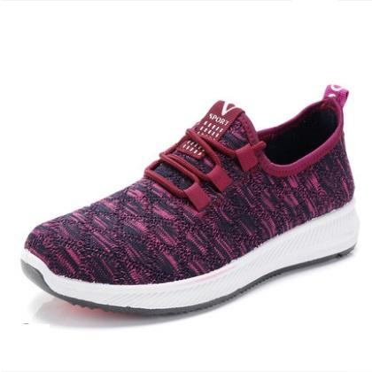 Women Korean Fashion Round Head Flat Bottom Lace up Sports Shoes
