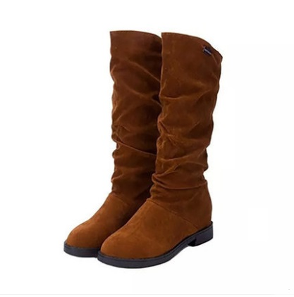 Women Korean Fashion Low Heel High Top Suede Fashion Boots