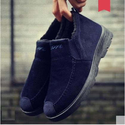 Men's Korean Trend Round Head Warm Velvet Casual Shoes