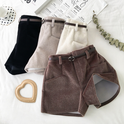 Women Korean Fashion Sweet Style Wide Leg High Waist Shorts