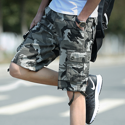 Men\'s Korean Youth Fashion Multi Pocket Camouflage Casual Tooling Shorts