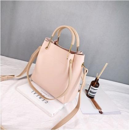 Women Korean Fashion Elegant Open Pocket Bucket Bag