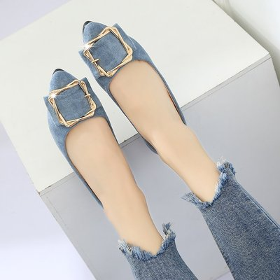 Women Korean Fashion Pointed  Low Heel Wild Shallow Scoop Shoes