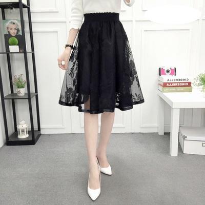 Women Korean Fashion High Waist Pleated Lace Skirt