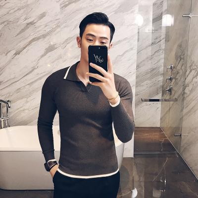 Men's Korean Trend Hedging Style Shirt Collar Casual Wool Sweater