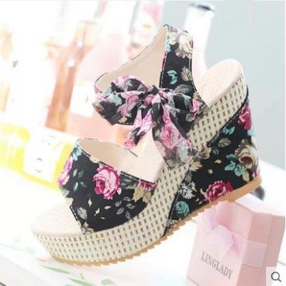 Women  Korean  Harajuku Style  Wild Bow  Floral Wedge Heel Plus Size