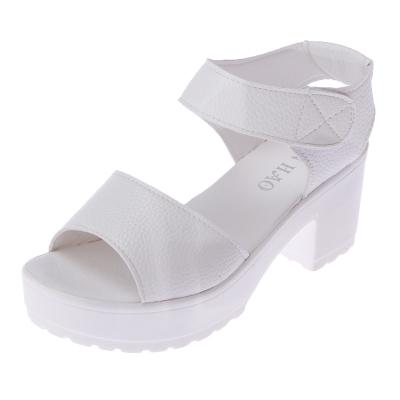 Women  Korean Fashion One Strap Thick Heel Roman Style Sandals