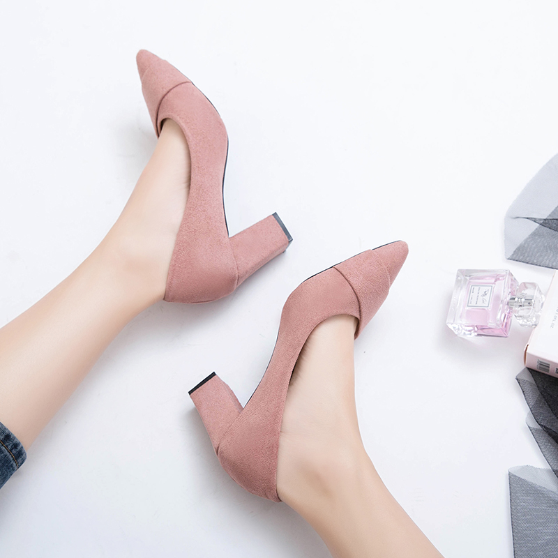 Women High Fashion Cow Suede Shall Low Heel Scoop Pointed Shoes