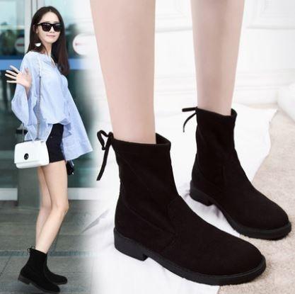 Women Korean Trend Wild Style Velvet Chic Martin Boots