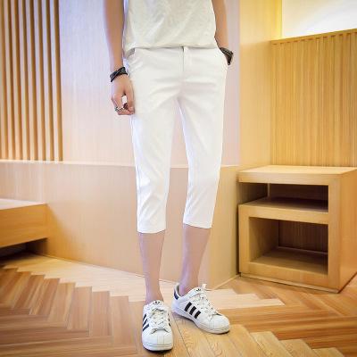 [READY STOCK] Men's Casual Plain Color Slim Cropped Shorts Pants