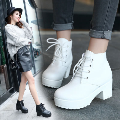 [READY STOCK] Women Single Thick Ankle Plus Size Boots Retro Thick Bottom Boots
