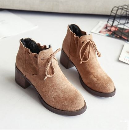 Women Korean Trend  Fashion Casual Thick Heeled Velvet Boots