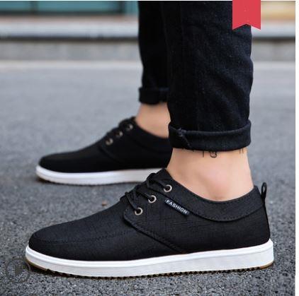 Men\'s Fashion Trend Wild Style Low Cut Lace Up Canvas Sneakers Plus Size