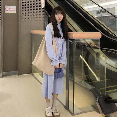 Women Korean Trend Fairy Long Sleeve Long Skirt Vintage Corduroy Dress